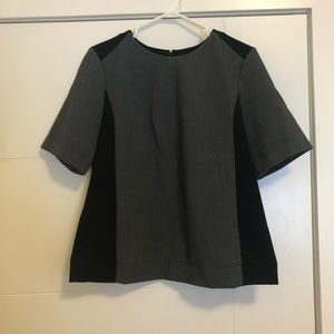 Club Monaco Gray & Black Colourblock Top